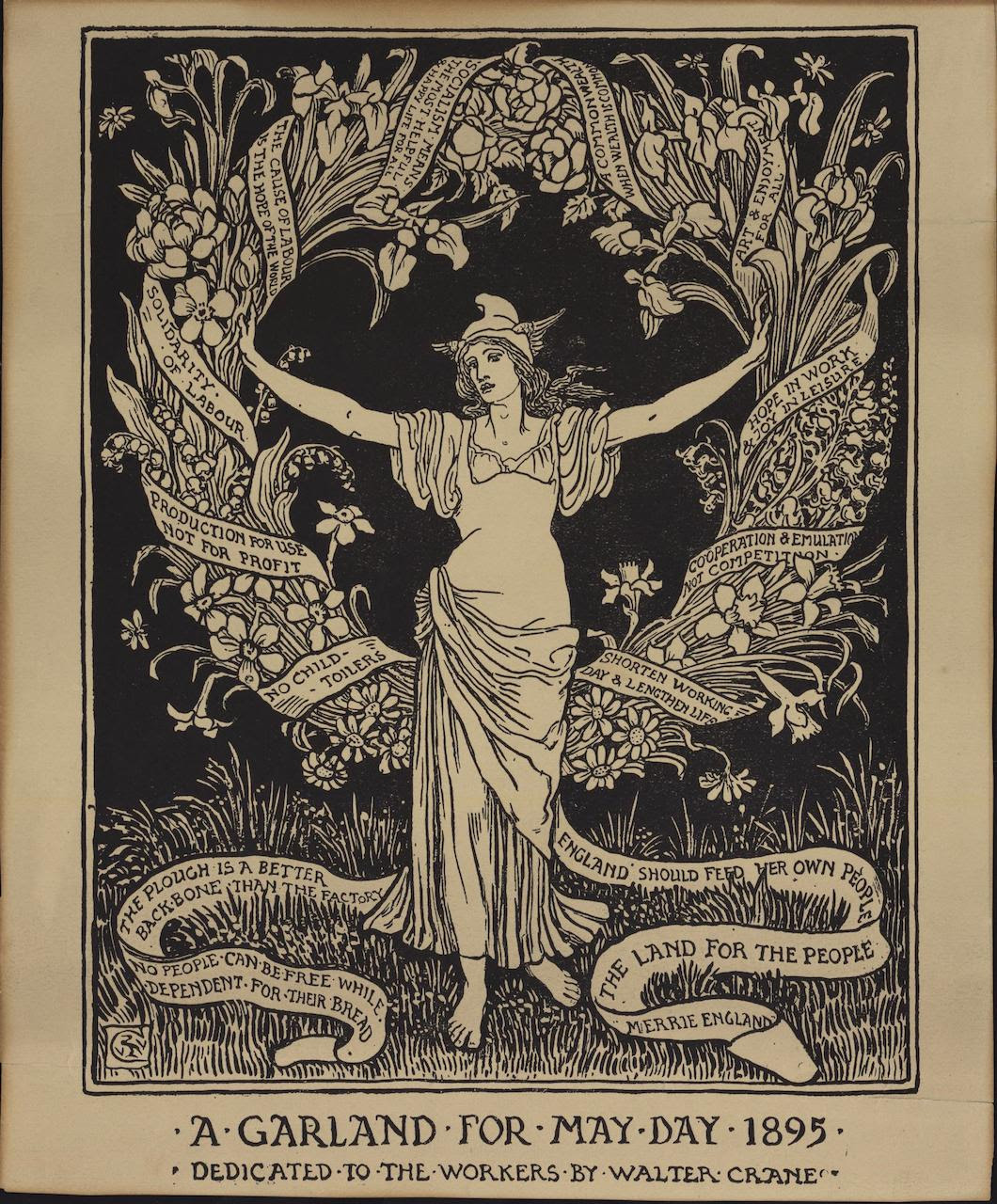 """A Garland for May Day 1895"" (1895), Walter Crane, original relief print"