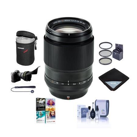 XF 90mm (137mm) F/2 R LM WR Lens - Bundle with 62mm Filter Kit, Flex LensShade, Lens Wrap,