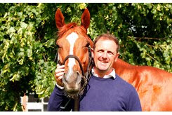Charlie Appleby with Masar at Moulton Paddocks in Newmarket