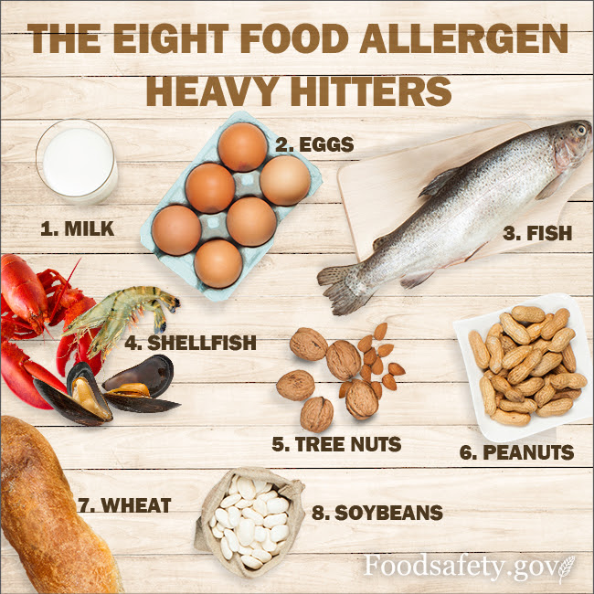 8 Common Allergens:Milk, Soy, Wheat, Eggs, Shellfish, Fish, Peanuts, and Tree Nuts