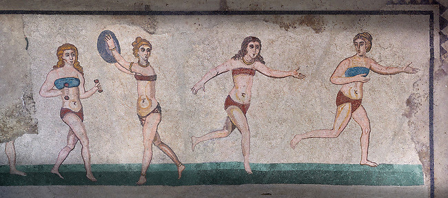 Roman Mosaic of girl athletes from the room of the Ten Bikini ...