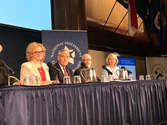State Superintendent Jillian Balow sits at a table with her counterparts from the Department of Defense Education Activity, California, and Florida for a panel discussion at the National Press Club in Washington, DC.