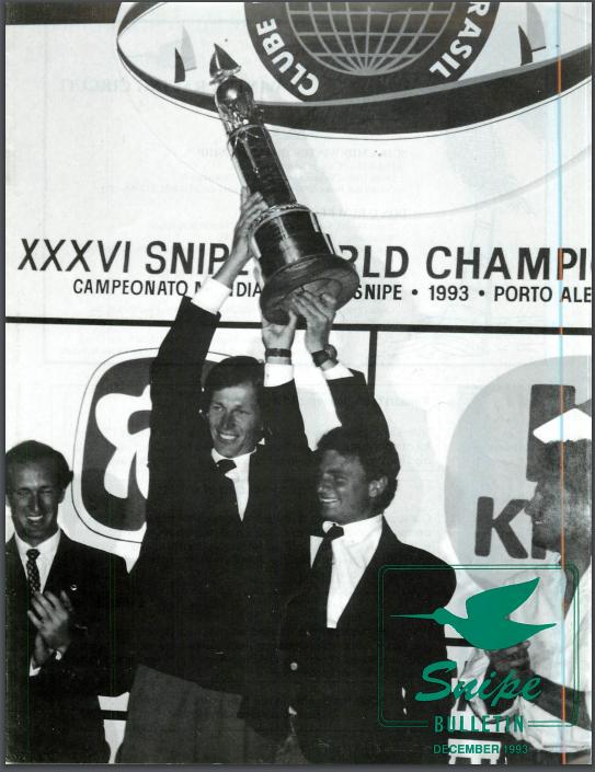 Santiago Lange e Mariano Parada estampam a capa do Snipe Bulletin de 1993. Foto - edição Snipe Bulletin dezembro de 1993.
