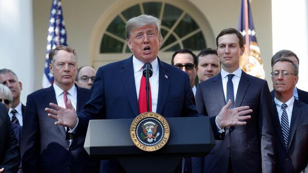 U.S. President Donald Trump delivers remarks on the United States-Mexico-Canada Agreement (USMCA) during a news conference in the Rose Garden of the White House.