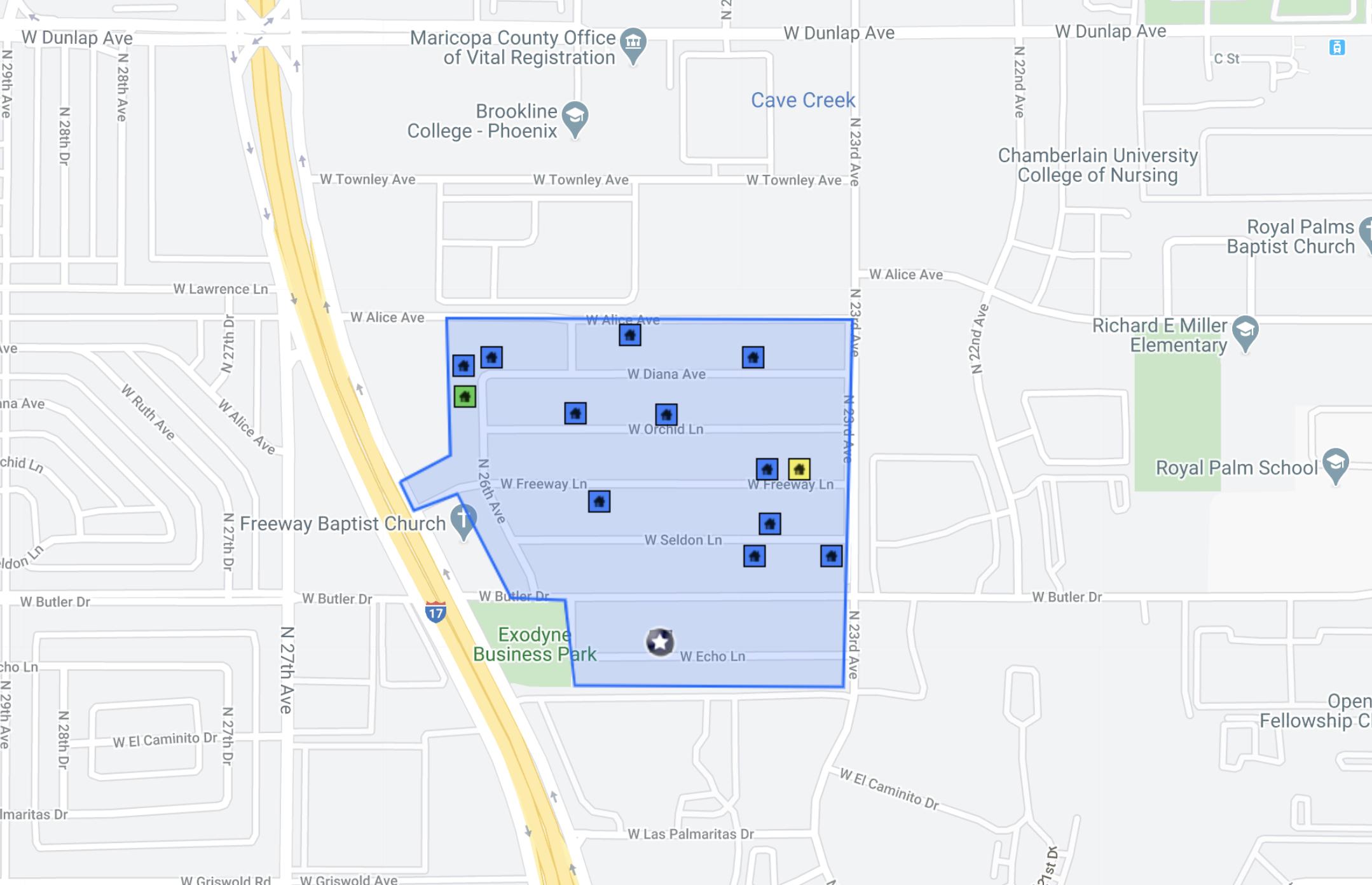 8614 N 26th Ave, Phoenix, AZ 85021 comps map