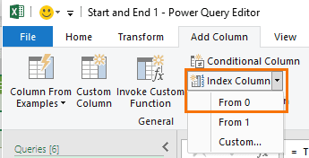 step 2 add index columns starting at zero