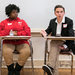David Hogg, right, a student from Marjory Stoneman Douglas High School in Parkland, Fla., spoke on Thursday to students at Thurgood Marshall Academy in Washington, D.C., about activism and Saturday's marches against gun violence.