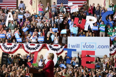 Hillary Clinton held a rally last week in Harrisburg, Pa., to promote voter registration.