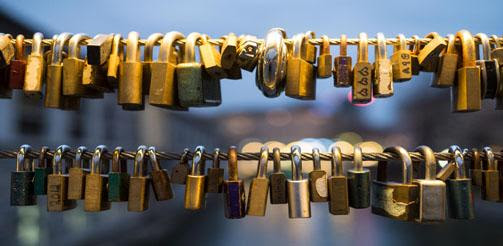 Love Padlocks on the Butcher's Bridge in Ljubljana, Slovenia. Photo by Nathan Meijer, cc on flickr