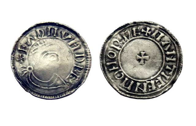 Anglo-Saxon coin: The Fitzwilliam Museum had this to say: 'This is an excellent example of the bust Crowned type of Eadmund (939-46) by the Norwich moneyer Mainticen, who also produced the bust Crowned type for Athelstan (924/5-39) Th