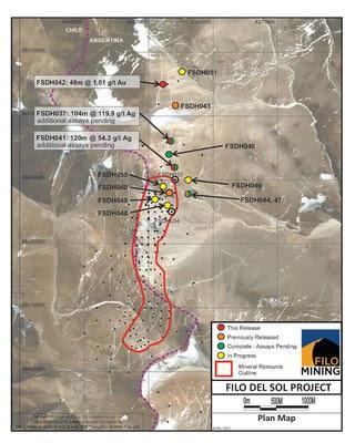 Imagen de satélite del mapa del plan de minería de Filo, abril de 2021 (CNW Group / Filo Mining Corp.)