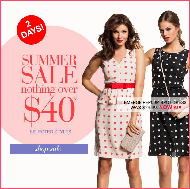 Summer sale nothing over $40 on selected styles + Up to 70% OFF Home & Gifts Plus Free Priority Delivery Upgrade On $150 at Ezibuy.com.au