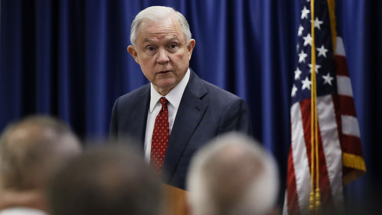 Jeff Sessions speaks at the U.S. Attorney's Office in Philadelphia. (Matt Rourke/AP)