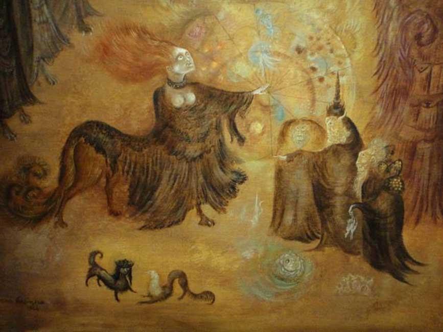 «Crisopea de María la Judía» (1964), óleo de Leonora Carrington.