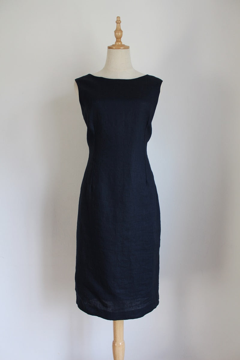 HILTON WEINER 100% LINEN NAVY SHIFT DRESS - SIZE 12