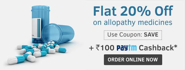 Get 20% off on medicines + Rs. 100 Paytm Cashback