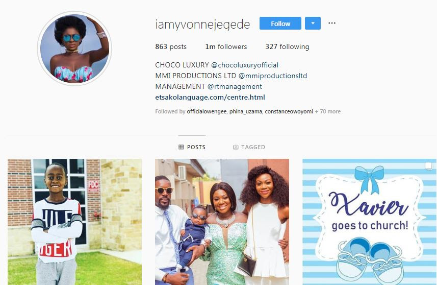 Yvonne Jegede takes off husband's name from her Instagram handle [Instagram/IamYvonneJegede]