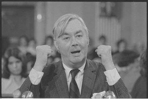 """Daniel Patrick Moynihan, speaking behind microphones"" by Trikosko, Marion S., photographer"