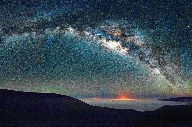A panorama of the Milky Way from Mauna Kea, Hawaii.