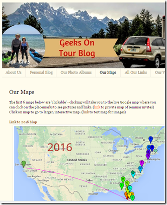 Our blog combines pictures and maps with our travel journal