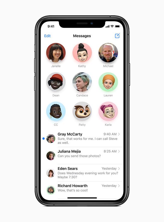 iPhone 11 Pro 上顯示「訊息」中釘選的對話。
