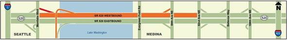 Westbound SR 520 closure