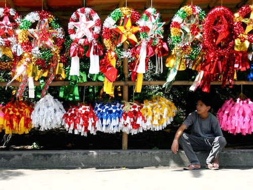 vendor sells colorful parol, or Christmas lanterns, a beloved symbol of the holiday in the Philipines