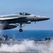 A Super Hornet fighter jet launching from an American aircraft carrier in flight operations against the Islamic State last year. The diversion of Kurdish forces has forced the American-led air campaign to shift its tactics.