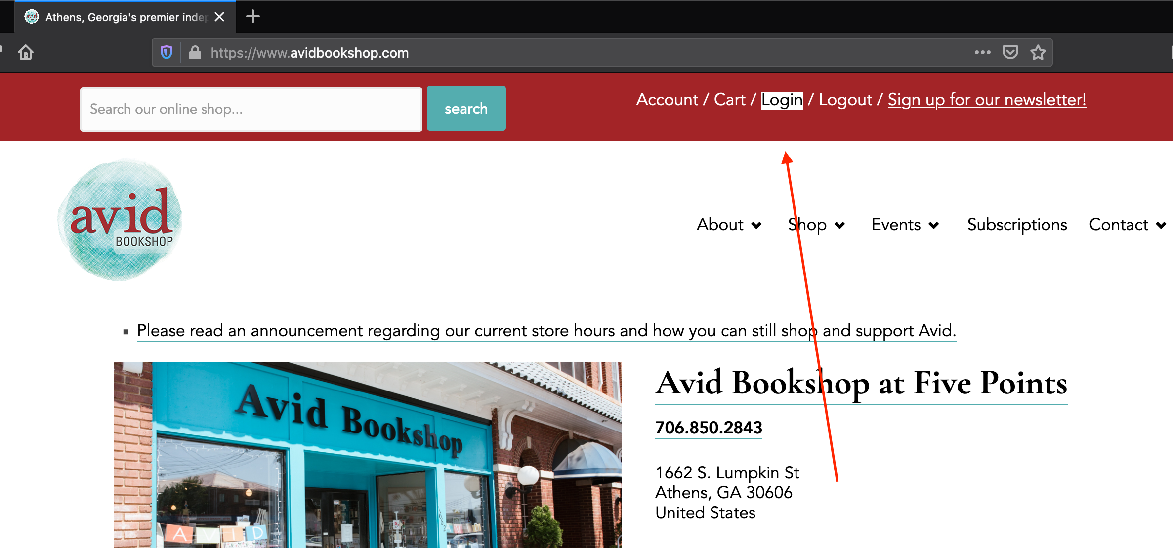 A screenshot of our website pointing to the account link