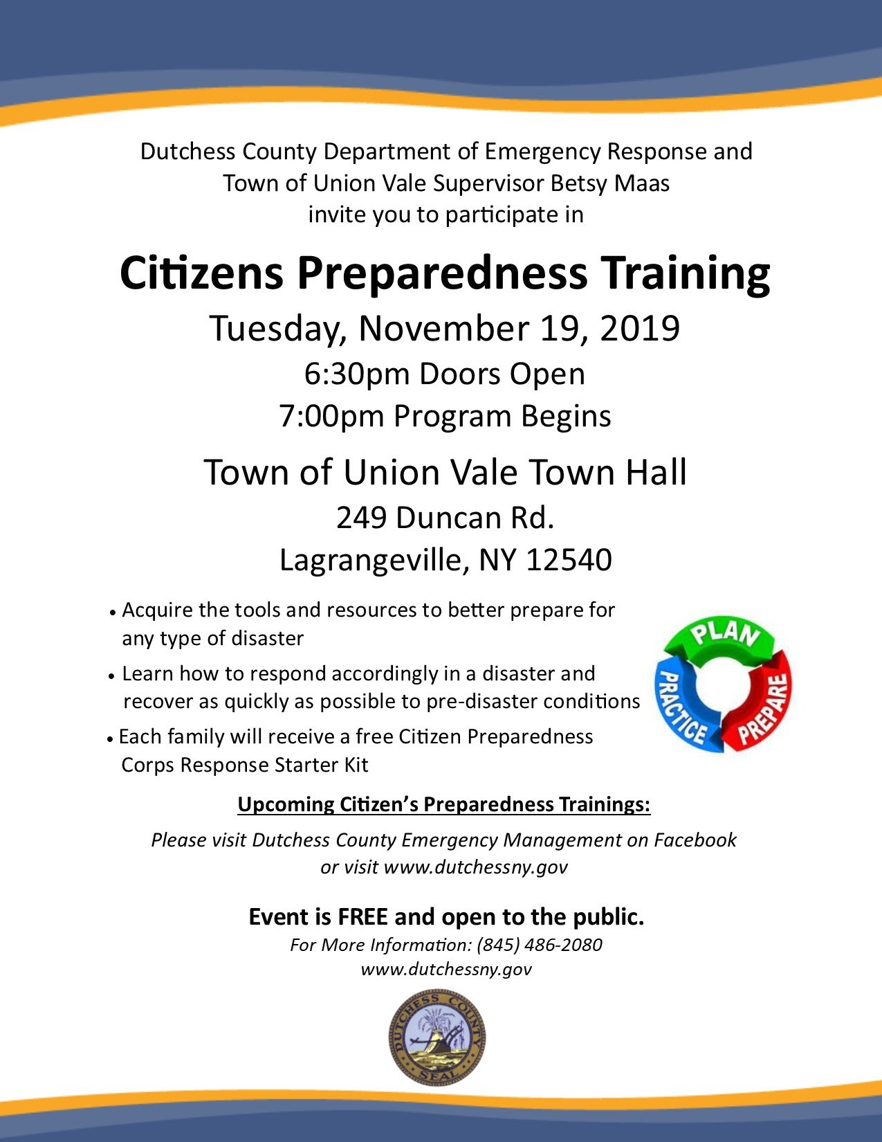 Citizen's Preparedness Training coming to Town of Union Vale Nov 19th