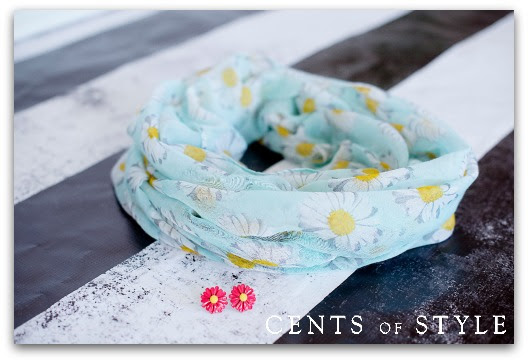 IMAGE: Daisy Infinity Scarf- $11.95 & FREE SHIPPING  with Code DAISY & FREE EARRINGS