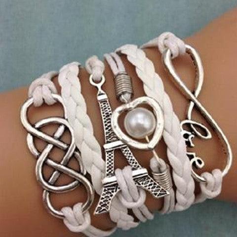 NEW Infinity LOVE Heart Eiffel Tower Friendship Leather  Bracelet