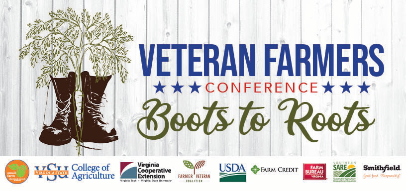 Decorative text banner that displays plants growing out of boots and Veteran Farmers Conference text