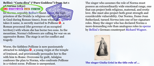 """Page from MITA's history text about Bellini's """"Casta Diva"""", with buttons circled for """"Play"""", """"Listening Guide"""", """"Score"""", and """"Web Video"""""""