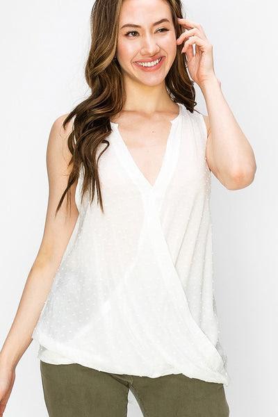 dot surplice oversized sleeveless top