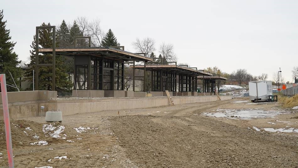 Opus Station: the station structure has taken shape, with roofing and other station details yet to come.