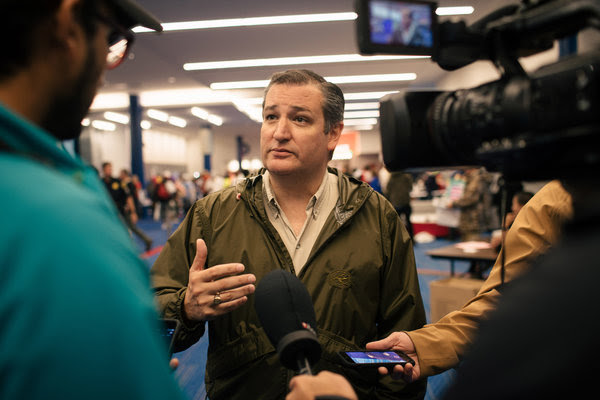 Senator Ted Cruz, Republican of Texas, spoke with the news media at a shelter in Houston.