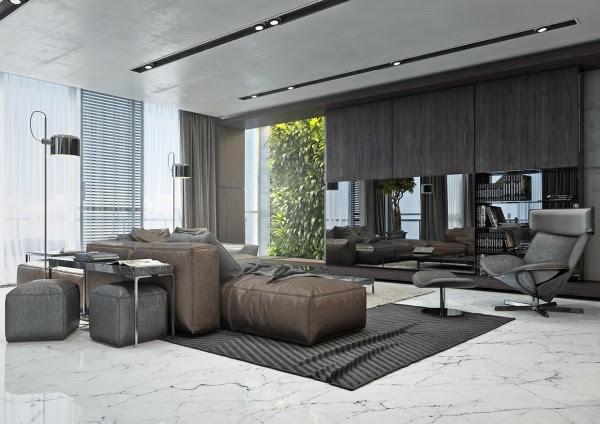 Το πρώτο διαμέρισμα τονίζεται από ένα chocolatey καφέ δερμάτινο καναπέ.