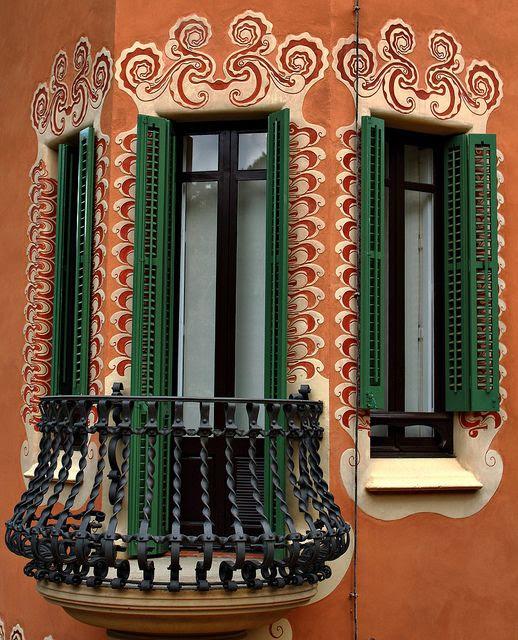Amazing                                                            Windows and                                                            balcony at                                                            Parc Guell,                                                            designed by                                                            Antoni Gaudi,                                                            Barcelona,                                                              Spain. photo:                                                            toyaguerrero