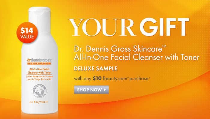 Your Gift  Dr. Dennis Gross Skincare(TM) All-In-One Facial Cleanser with Toner deluxe sample ($14 value) with any $10 Beauty.com(R) purchase*  Shop now