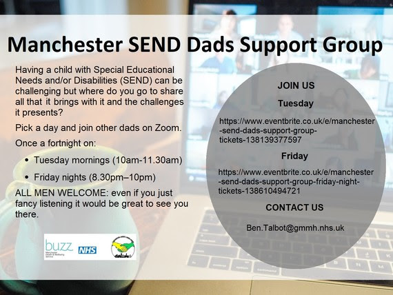 Manchester SEND dads support group poster