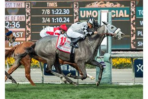 Keeper Ofthe Stars rallies past Jolie Olimpica in the Buena Vista Stakes at Santa Anita Park