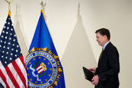 The F.B.I. director, James B. Comey, before his news conference on Tuesday.