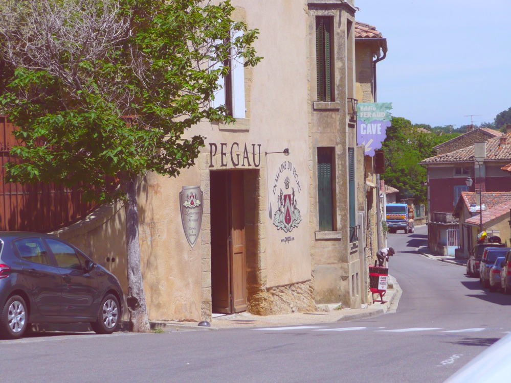Entrance to Domaine du Pegau from the street in the French village.