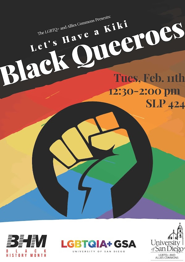 Let's have a kiki: Black queeroes, Tuesday Feb 11 from 12:30-2:00 in SLP 424