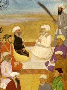 دارا شکوہ ملاّ شاہ قادر اور حضرت میاں میر کے ساتھ۔— پینٹنگ پبلک ڈومین