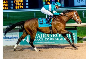 Mr. Mononoy wins the Risen Star Stakes at Fair Grounds Race Course