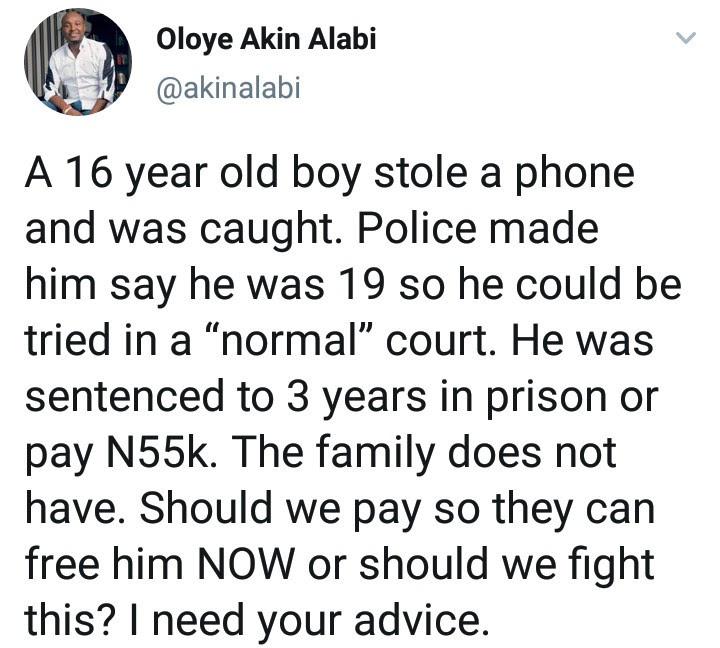 Akin Alabi narrates how police forced a boy, 16, to lie he
