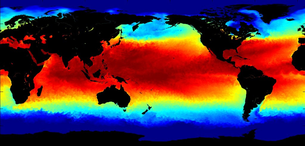 A NASA image of current sea surface temperature anomalies shows the building of an extremely strong El Niño in red. (Graphic courtesy of the Jet Propulsion Laboratory/NASA)