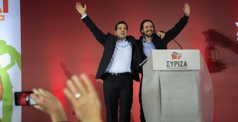 Alexis Tsipras y Pablo Iglesias en el mitin de cierre de campaña de Syriza.